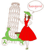 Girl in italy. Vector illustration of beautiful woman standing in front of Pisa tower and moto scooter and saying  Buongiorno which is translated as Hello Royalty Free Stock Image
