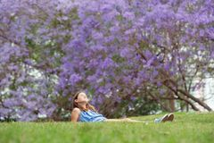 Girl and Jacaranda Tree Royalty Free Stock Photo