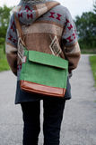 Girl in a jacket with a bag from the back royalty free stock image