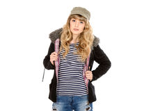 Girl in jacket Stock Photography