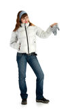 Girl in jacket with glove Royalty Free Stock Photo