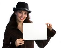 Girl with jacket and hat 1. White girl with jacket and hat on the white background stock photography