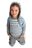 Little girl in jacket with hood, isolated. Stylish little girl in striped jacket with hood Royalty Free Stock Photo