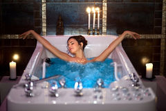 Girl in Jacuzzi Stock Photography