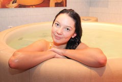 Girl in the jacuzzi Royalty Free Stock Photography