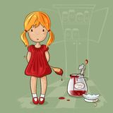 Girl with jam jar. Little girl with spoon near the jam jar and mouse in cartoon style Stock Photo