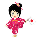 Girl Japan. Little Girl Wearing Traditional Dress and Holding Japan flag. Vector illustration Royalty Free Stock Photography