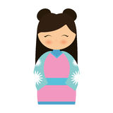 girl japanese doll traditional dress Royalty Free Stock Photography