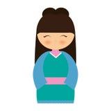 girl japanese doll traditional dress Stock Photo