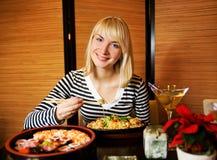 Girl in japanese restaurant Stock Images
