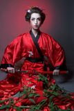 Girl in japanise style Royalty Free Stock Images