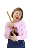 Girl with a jar of jam Royalty Free Stock Photography