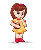 Girl with a jar of jam. Vector illustration of a girl with a jar of jam on a white background Royalty Free Stock Photos