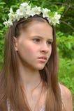 Girl with jasmine flowers Royalty Free Stock Photos