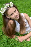 Girl with jasmine flowers Stock Photo