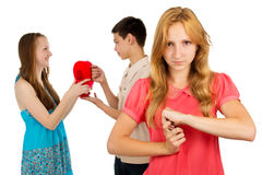 Girl is jealous girlfriend Stock Photography