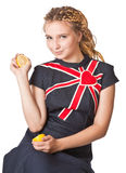 Girl in jean dress with lemons. Stock Photos