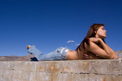 Girl in jeans Royalty Free Stock Photography