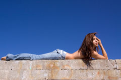 Girl in jeans Stock Image