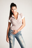 Girl in jeans Royalty Free Stock Images