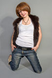 The girl in jeans Royalty Free Stock Images