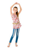 Girl in the jeans. Is photographed on the white background Stock Photos