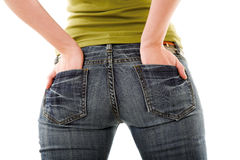 Girl in jeans Stock Images