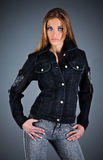 Girl in a jeans jacket Royalty Free Stock Images