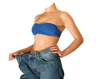 Girl in jeans after losing weight Stock Images
