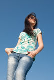 Girl in jeans outdoors Royalty Free Stock Photos