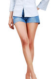 Girl in jeans with sexy legs Royalty Free Stock Photography