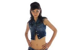 Girl in jeans shirt Royalty Free Stock Photos