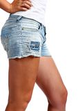 Girl in jeans shorts Royalty Free Stock Photo