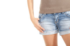 Girl in jeans shorts Royalty Free Stock Image