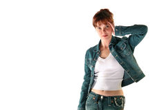 The girl in a jeans suit.  Royalty Free Stock Image