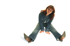 The girl in a jeans suit.  Stock Images