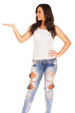 Girl in jeans. On white background Royalty Free Stock Photography