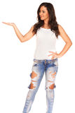 Girl in jeans. On white background Royalty Free Stock Photo