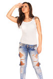 Girl in jeans. On white background Stock Photos