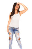 Girl in jeans. On white background Royalty Free Stock Images