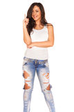 Girl in jeans. On white background Stock Image