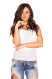 Girl in jeans. On white background Royalty Free Stock Image