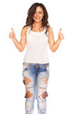 Girl in jeans. On white background Stock Photography