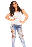Girl in jeans. On white background Royalty Free Stock Photos