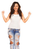 Girl in jeans. On white background Stock Photo