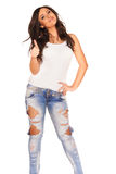 Girl in jeans. On white bckground Stock Photography