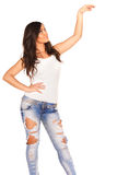 Girl in jeans. On white bckground Royalty Free Stock Photo
