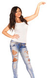 Girl in jeans. On white bckground Royalty Free Stock Images