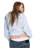 Girl in jeans and white panties Royalty Free Stock Images