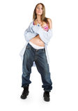 Girl in jeans and white panties Royalty Free Stock Photo